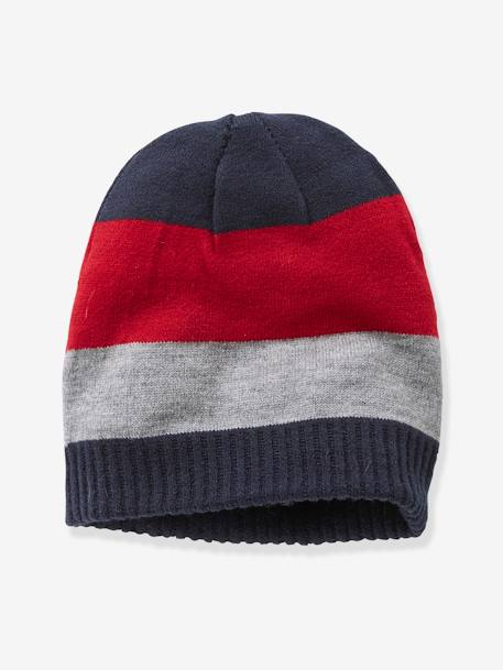 Reversible Beanie for Boys BLUE DARK STRIPED