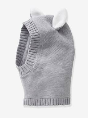 Beanie with Ears for Girls grey medium solid