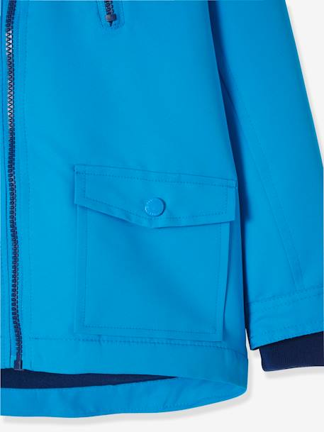Boys' Parka with Fleece Lining BLUE BRIGHT SOLID WITH DESIGN+BLUE DARK STRIPED+GREEN LIGHT SOLID WITH DESIGN