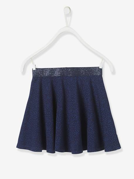 Girls' Skater Skirt BLUE DARK SOLID+RED DARK ALL OVER PRINTED