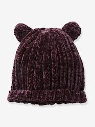 Girls-Chenille Knit Beanie with Ears for Girls