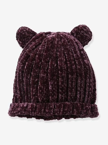 Chenille Knit Beanie with Ears for Girls BROWN DARK SOLID