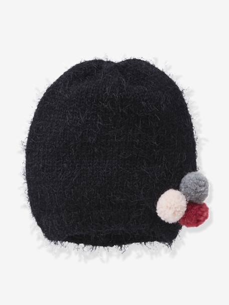 Furry Knit Beanie for Girls BLACK DARK SOLID WITH DESIGN