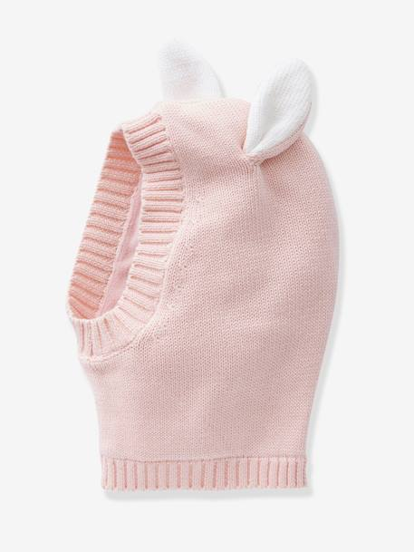 Beanie with Ears for Girls GREY MEDIUM SOLID+PINK LIGHT SOLID