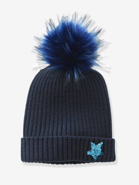 Beanie with a Reversible Sequinned Star BLUE DARK SOLID WITH DESIGN