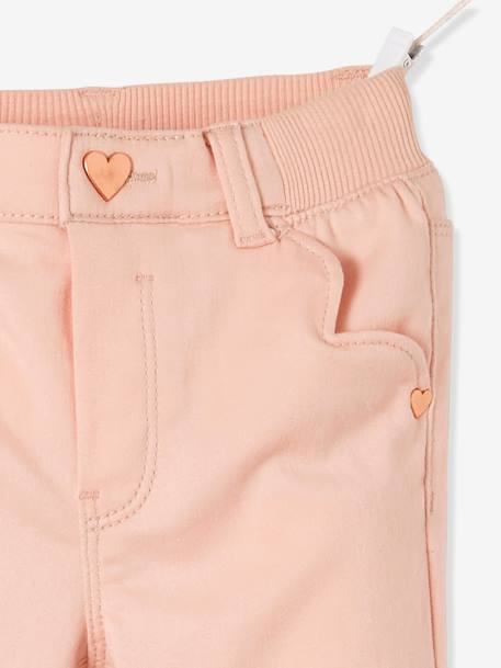 MEDIUM Hip Slim Trousers for Girls BLUE DARK SOLID WITH DESIGN+PINK LIGHT SOLID WITH DESIGN