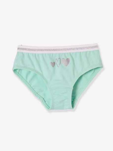 Pack of 4 Stretch Briefs for Girls GREEN LIGHT SOLID
