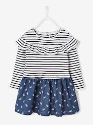 Girls-Dresses-Dual Fabric Dress for Girls in Fleece & Printed Denim