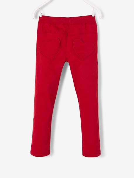 Trousers with Fancy Details for Girls RED DARK SOLID WITH DESIGN
