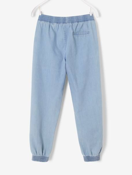 Loose-Fitting Lightweight Denim Trousers For Girls BLUE LIGHT WASCHED
