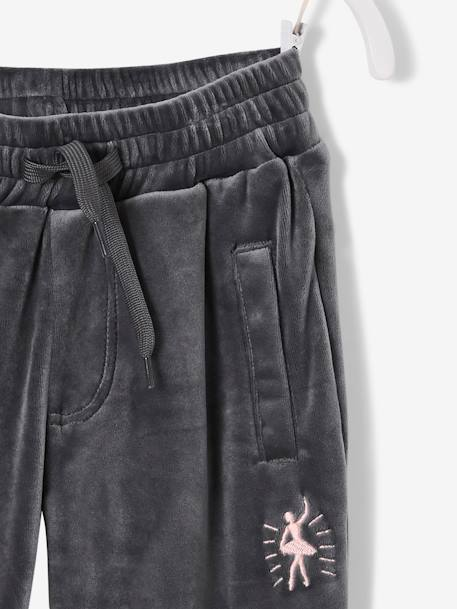 Velour Joggers for Girls GREY DARK SOLID WITH DESIGN+PINK LIGHT SOLID