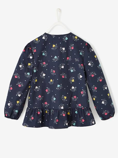Smock with Frill on the Hem, for Girls BLUE DARK ALL OVER PRINTED