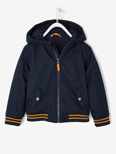 Fabric Jacket with Fleece Lining for Boys BLUE DARK SOLID WITH DESIGN