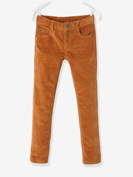 Corduroy Slim Leg Trousers for Boys, NARROW Hip BROWN LIGHT SOLID+GREY DARK SOLID