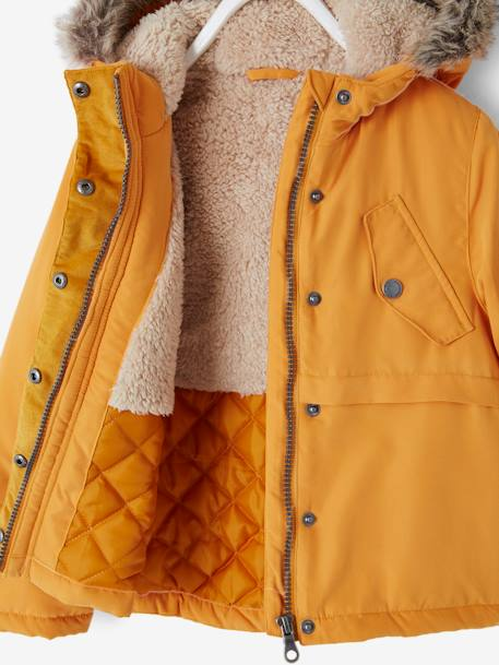 Parka with Plush Lining, for Girls ORANGE MEDIUM SOLID WITH DESIG