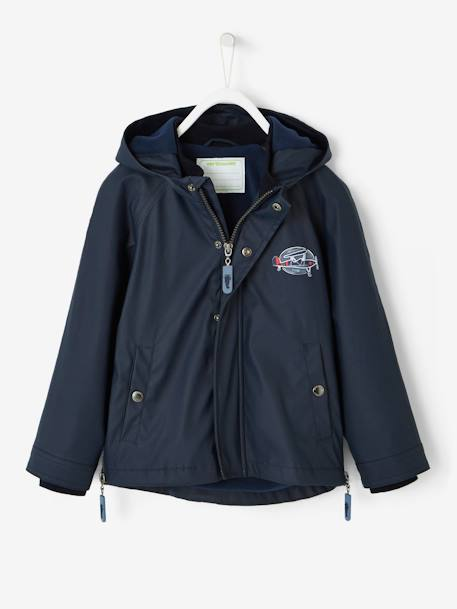 Windcheater with Fleece Lining for Boys BLUE DARK SOLID WITH DESIGN+BLUE DARK STRIPED