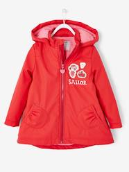 Girls-Hooded Raincoat with Fleece Lining for Girls