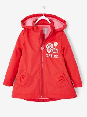 Click to view product details and reviews for Hooded Raincoat With Fleece Lining For Girls Red Dark Solid With Design.