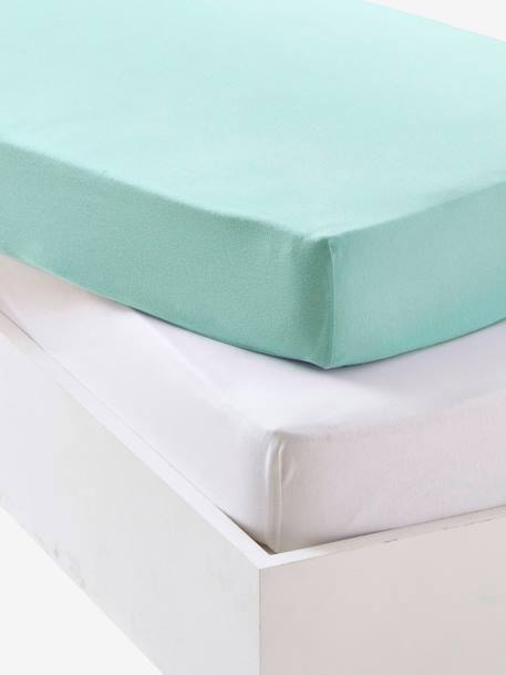 Baby Pack of 2 Fitted Sheets in Stretch Jersey Knit Ash + white+Blue + white+GREEN MEDIUM SOLID+Light pink + white