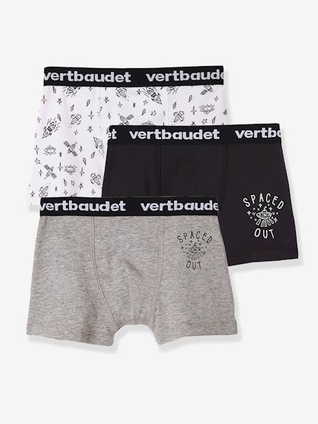 Pack of 3 Stretch Boxer Shorts for Boys BLUE DARK SOLID WITH DESIGN+GREY MEDIUM MIXED COLOR