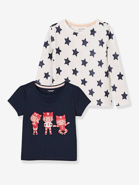 Pack of 2 Printed Tops in Pure Cotton for Girls BLUE DARK TWO COLOR/MULTICOL+PINK LIGHT 2 COLOR/MULTICOL R
