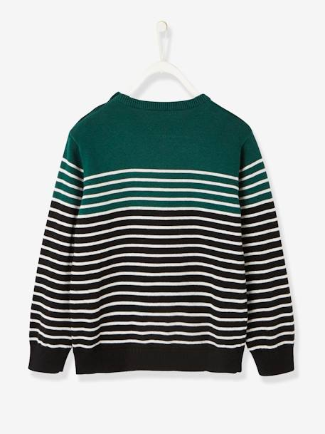 Navy-Style Jumper, for Boys BROWN DARK STRIPED+GREEN DARK STRIPED