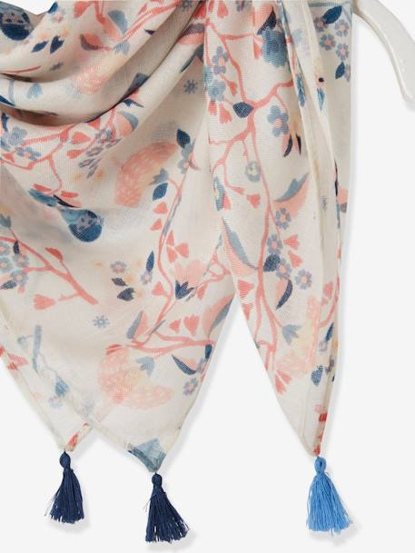 Headscarf with Pompoms for Girls WHITE LIGHT ALL OVER PRINTED