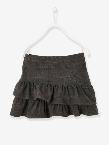 Asymmetrical Flounced Skirt for Girls GREY DARK CHECKS