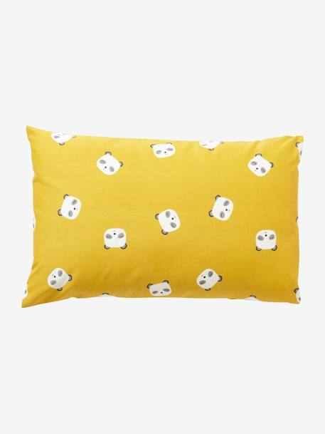 Duvet Cover + Pillowcase Set for Babies, My Panda Friend Theme YELLOW DARK ALL OVER PRINTED