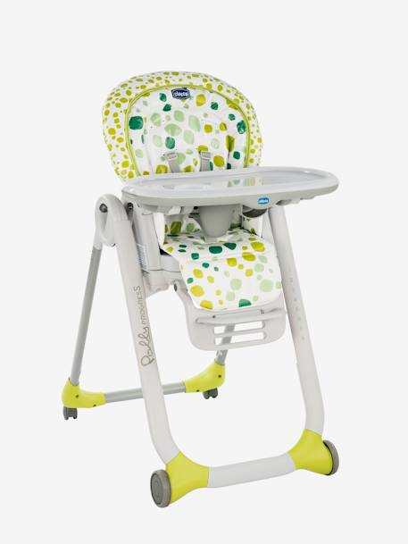 Polly Progres5 High Chair, by CHICCO GREEN MEDIUM ALL OVER PRINTED+GREY LIGHT SOLID WITH DESIGN+RED MEDIUM ALL OVER PRINTED