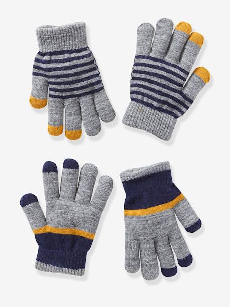 Pack of 2 Pairs of Gloves for Boys GREY MEDIUM MIXED COLOR