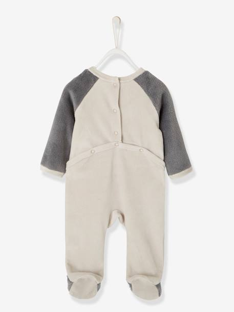 Velour Pyjamas for Babies, with Press-Studs on the Back GREY LIGHT SOLID WITH DESIGN