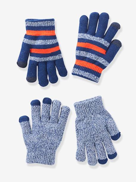 Pack of 2 Pairs of Gloves for Boys, One Size Fits All BLUE DARK SOLID WITH DESIGN