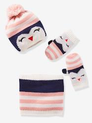Girls-Accessories-Penguin Beanie + Snood + Glove Set for Girls