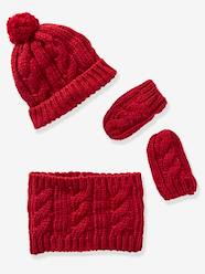 Baby-Hats & Accessories-Knitted Beanie, Snood & Gloves Set for Babies