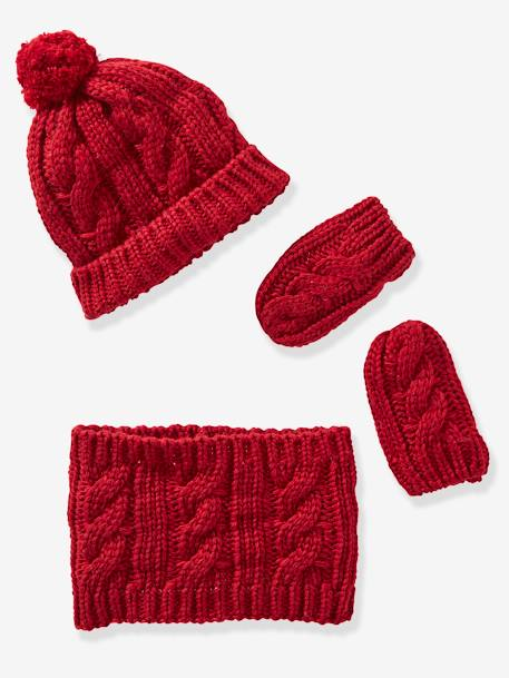 Knitted Beanie, Snood & Gloves Set for Babies GREY DARK SOLID+RED DARK SOLID