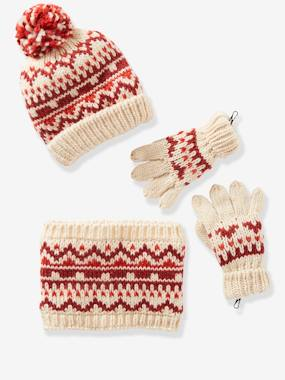 Beanie + Snood + Gloves/Mittens in Jacquard Knit for Girls red medium all over printed