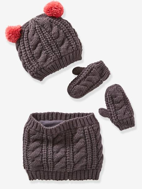 Fancy Knit Beanie + Snood + Gloves for Girls GREY DARK SOLID