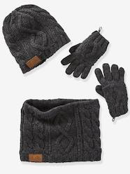 Boys-Cable-Knit Beanie + Snood + Gloves for Boys