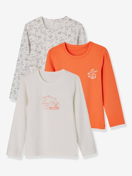 Pack of 2 Stretch Long-Sleeved Tops for Boys WHITE LIGHT SOLID WITH DESIGN