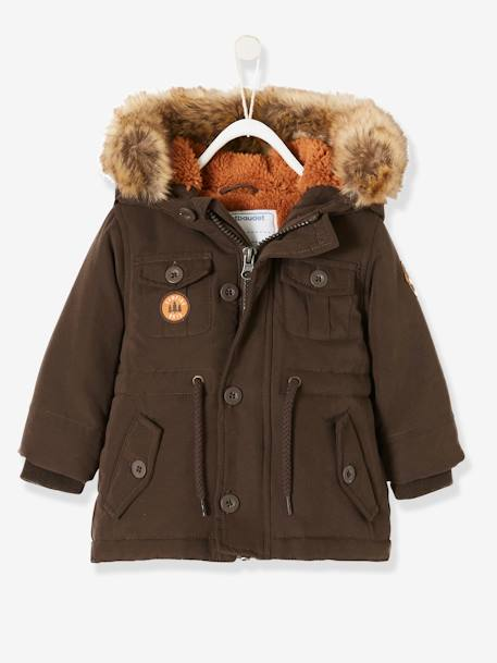 Parka with Hood & Plush Knit Lining, for Baby Boys BROWN DARK SOLID+GREY DARK CHECKS