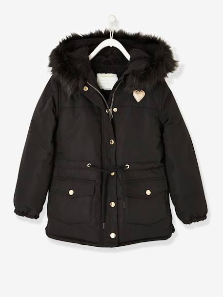 7e678ba29a8a Parka with Sherpa Lining for Girls - black dark solid