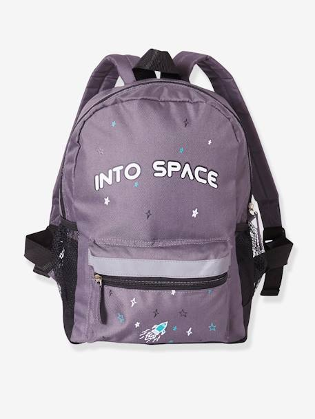 Backpack for Boys, Into space GREY DARK SOLID WITH DESIGN
