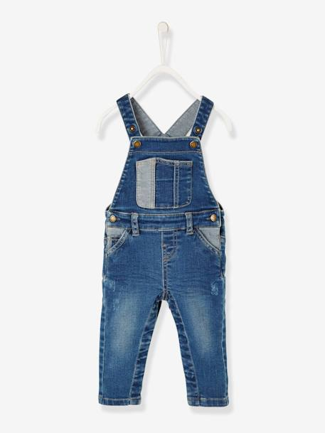 Washed-Look Denim Dungarees for Baby Boys BLUE DARK WASCHED