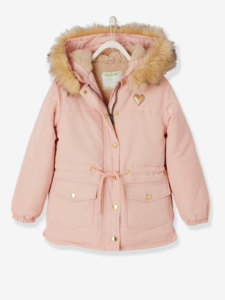 Parka with Sherpa Lining for Girls BLACK DARK SOLID+GREEN DARK SOLID+PINK LIGHT SOLID
