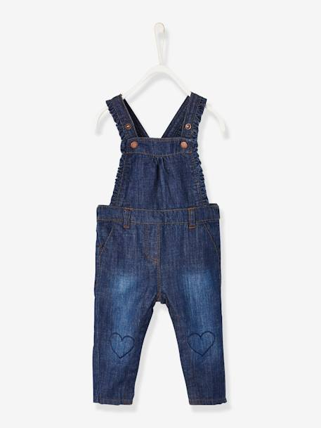 Denim Dungarees with Frills, for Baby Girls BLUE DARK SOLID