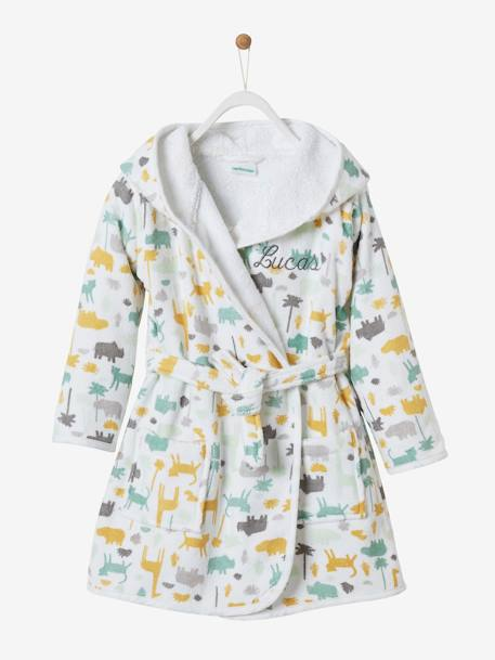 Bathrobe for Babies, Jungle Theme WHITE LIGHT ALL OVER PRINTED