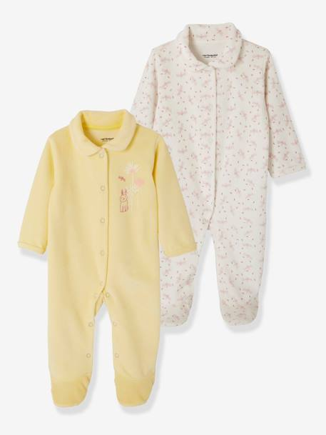 Pack of 2 Velour Pyjamas for Babies, Press Studs on the Front YELLOW LIGHT 2 COLOR/MULTICOL