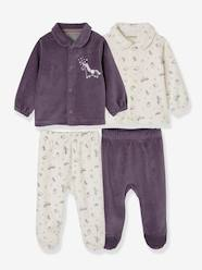 Baby-Pack of 2 Two-Piece Pyjamas for Babies in Velour
