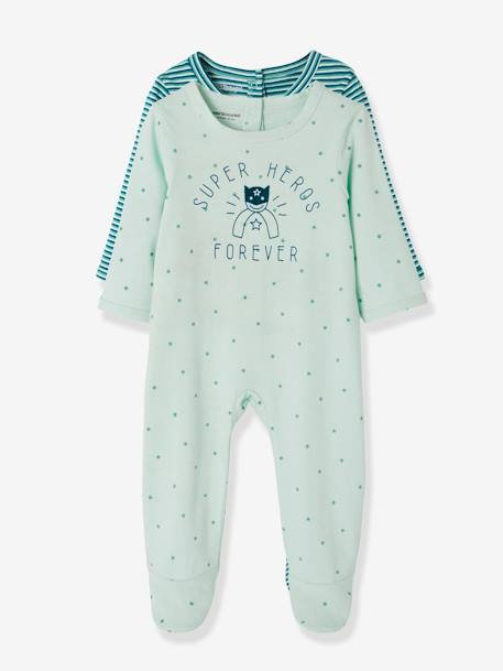 Pack of 2 Cotton Pyjamas for Babies, Press Studs on the Back GREEN DARK 2 COLOR/MULTICOLORR
